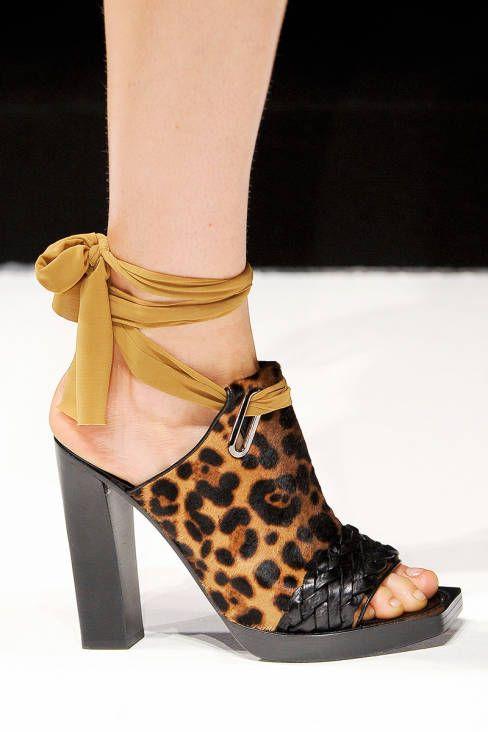 Max Mara Leopard Print Ankle Wrap Sandal Spring 2013 RTW #Shoes #Heels