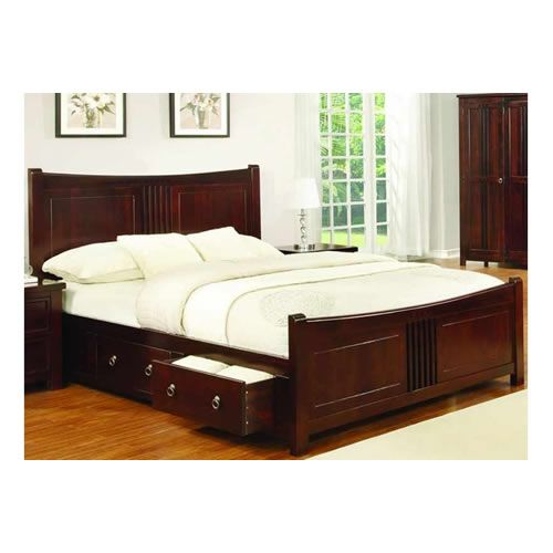 A Wood Stained Furniture Range In Mahogany Features A Bed Frame