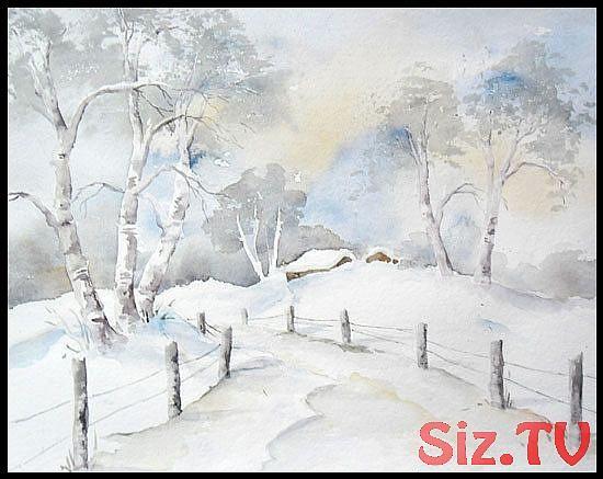 Winter In Den Bergen Aquarell 24 X 32 Cm Original Aquarell