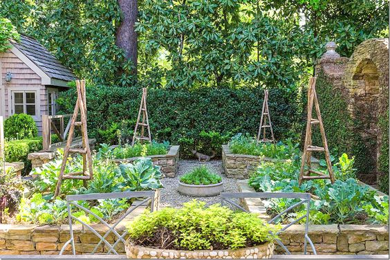 ...vegetable garden with walls...former owner of Ballard Designs: