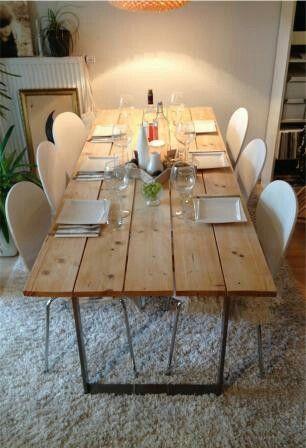 tisch aus baubohlen | gartenideen | pinterest, Möbel