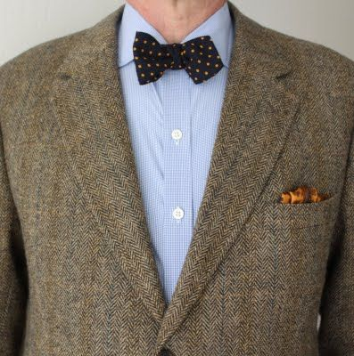 Single ended wool challis bow tie worn with a silk square ...
