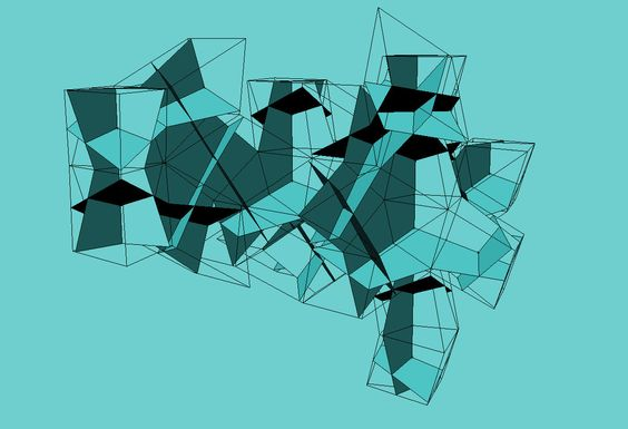 Antonio Sáseta, 2010, estudio de estructura basada en retícula de romboedros aureos [Penrose / Ammann] para su construcción usando planos perpendiculares.