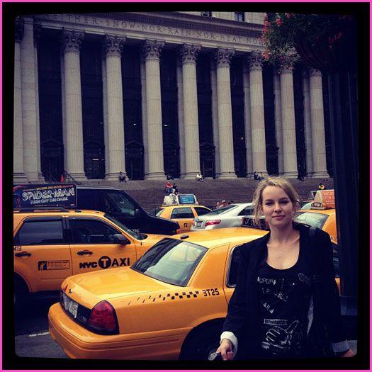 Bridgit Mendler leaves New York.