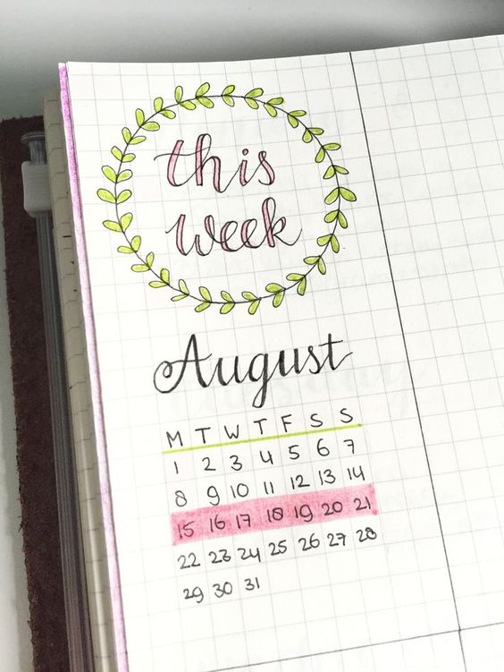 Bullet Journal : August 15 - New week, new spread! Here's a little...