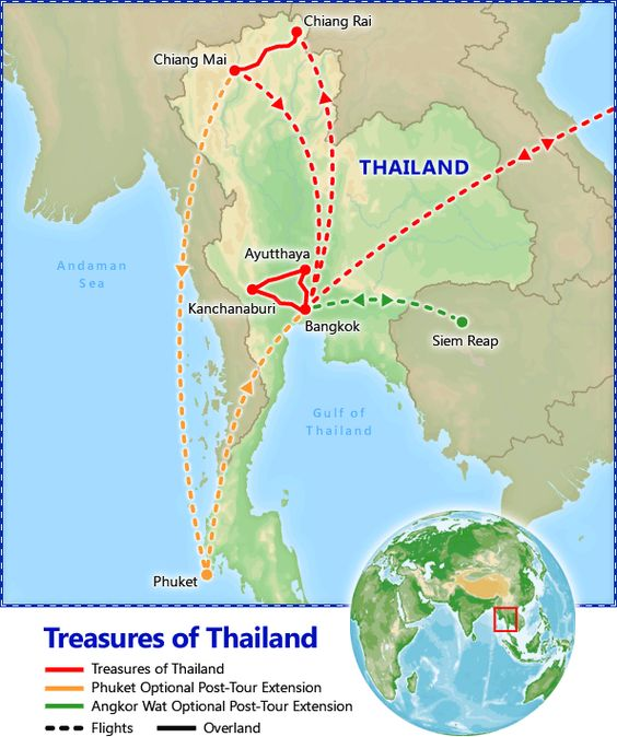 Treasures of Thailand itinerary map . Thailand Vacation Packages, Treasures of Thailand - Friendly Planet