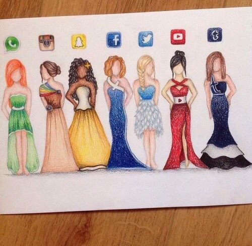 Awesome beautiful drawing dress facebook fashion for App that makes pictures look like paintings
