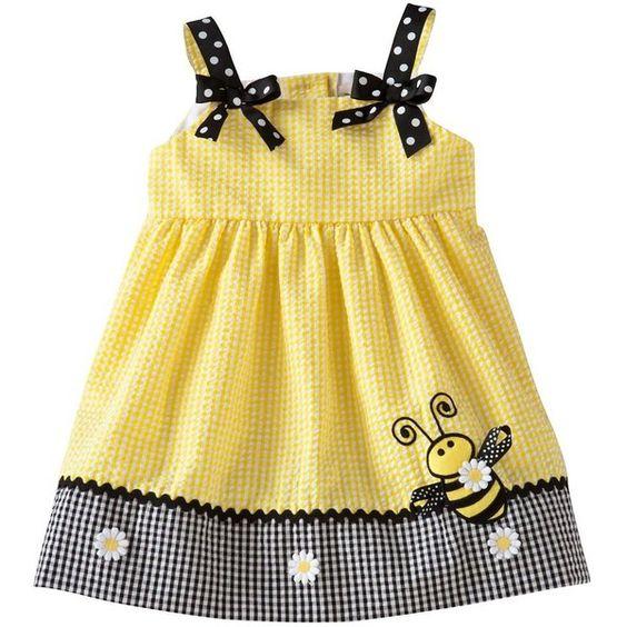 Rare Editions Checkered Bumblebee Seersucker Dress Baby
