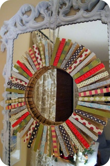 DIY: Christmas Clothespin Wreath... this would also be cute to do with a round mirror for a bedroom