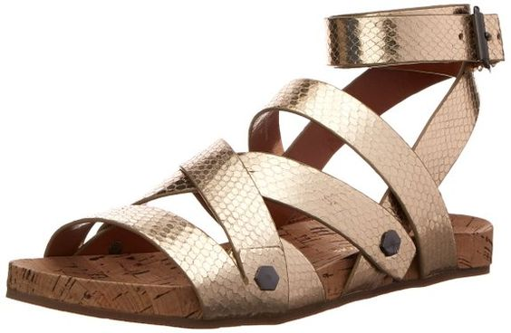 Rebecca Minkoff Women's Tristen Gladiator Sandal, Gold, 6 M US