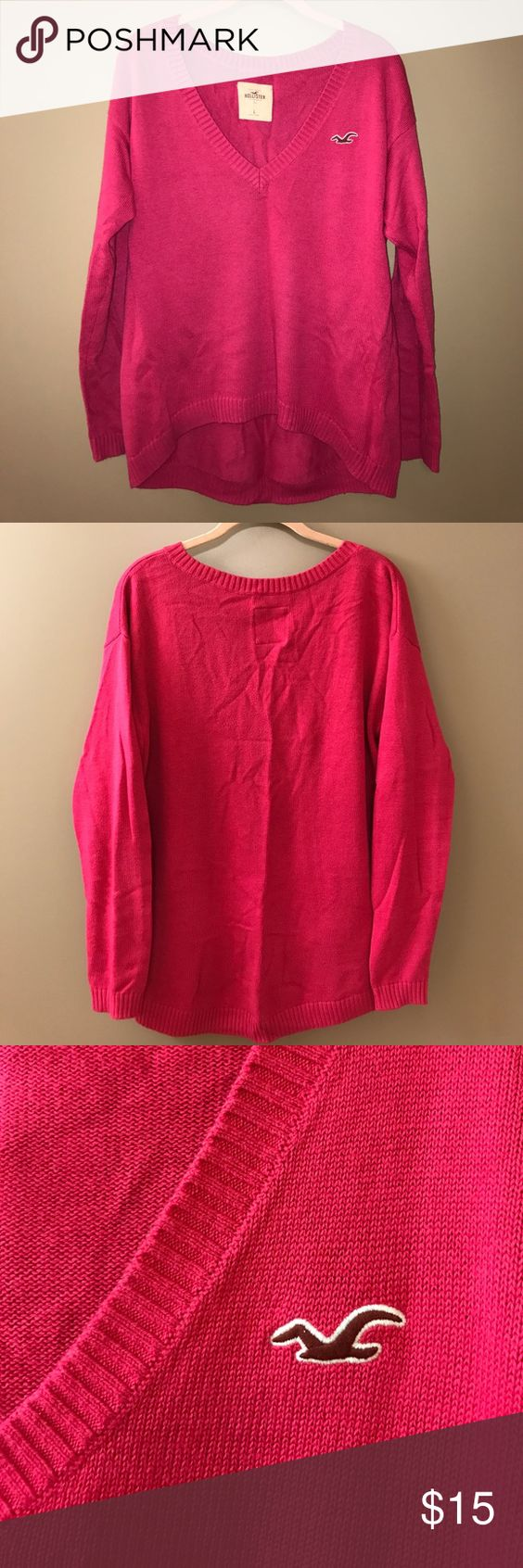 Hot Pink V-neck Sweater | Pink, Nice and Hot pink sweater