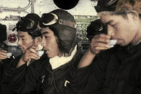 "fujisan-ni-noboru-hinode: ""Japanese navy pilots hold a toast before the Pearl Harbour attack, 7 December, 1941. """