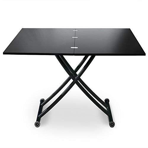 Menzzo B2219s Contemporain Carrera Table Basse Relevable Bois Metal Noir Carbone 57 100 X 100 1142 En 2020 Table Basse Relevable Table Reglable Table Reglable Hauteur