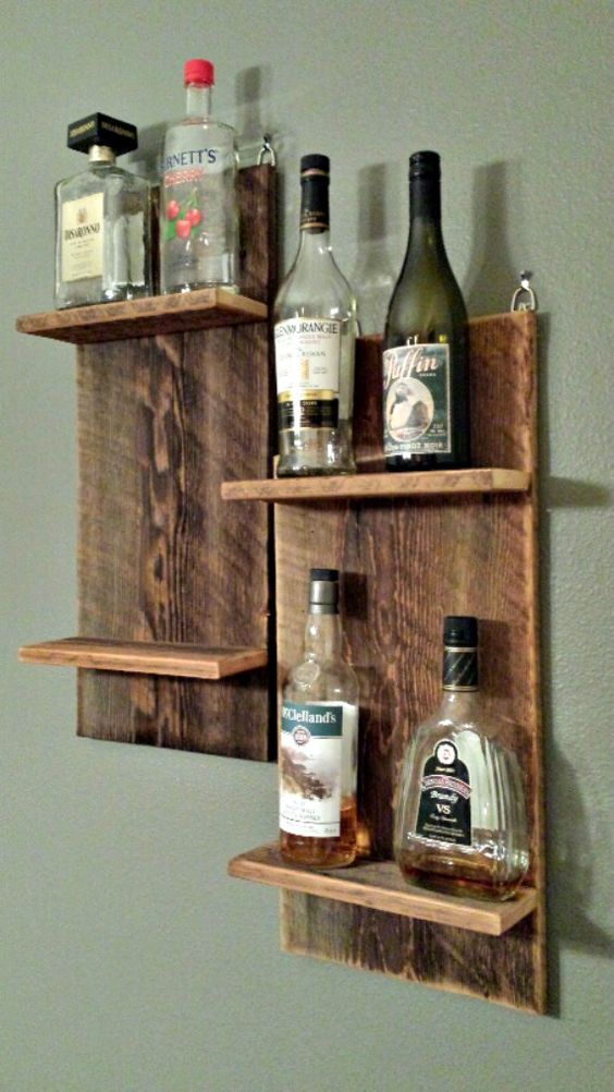 Barn Wood Shelves Liquor And Bar On Pinterest