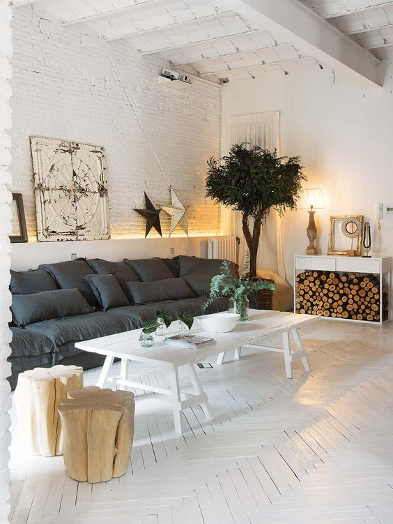 There isn't anything about this Barcelona flat that I'm not absolutely obsessed with. The whitewashed herringbone floors, the black trimmed windows, the vaulted ceilings, the exposed brick, the old world fireplace, the free standing bathtub in the bedroom, the oversized lanterns and the super long: