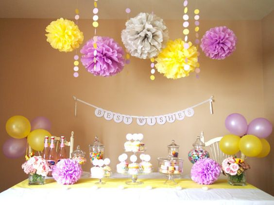 Baby Shower Decorations Purple And Yellow ~ Bridal showers maid of honor and baby shower decorations