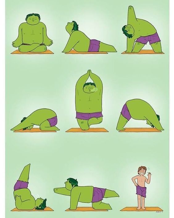 Haha! Some days even Hulk needs a little help from yoga. This is one of my favourite yoga cartoons out there.  #yoga #hulk #cartoon #instagood #instafun #funny #igyoga #transformation #india #chennai #wednesday #smile #laugh #love #inspiration #yogalove #help by yogaholicwithzia | www.ghantagiri.com #ghantagiri