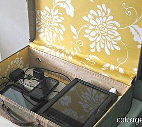 Vintage Suitcase Upcycled to Electronics Charging Station