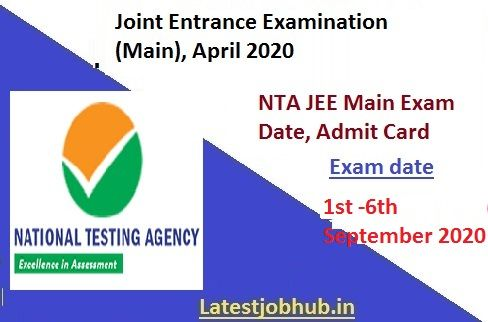 Jee Main Admit Card 2020 Exam Date In 2020 Exam Name Wise Pen And Paper
