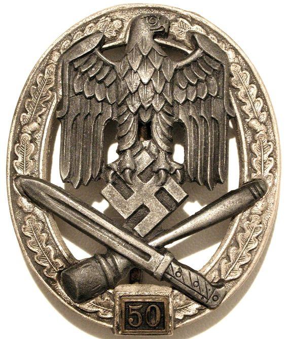 Sturmabzeichen 3. Stufe mit Einsatzzahl 50 (General Assault Badge):