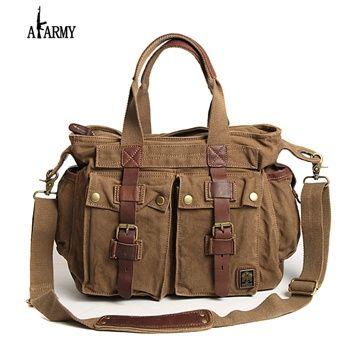 AKARMY Canvas bag men baodan shoulder Messenger cross shoulder bag retro Messenger bags slung Travel Leisure handbag