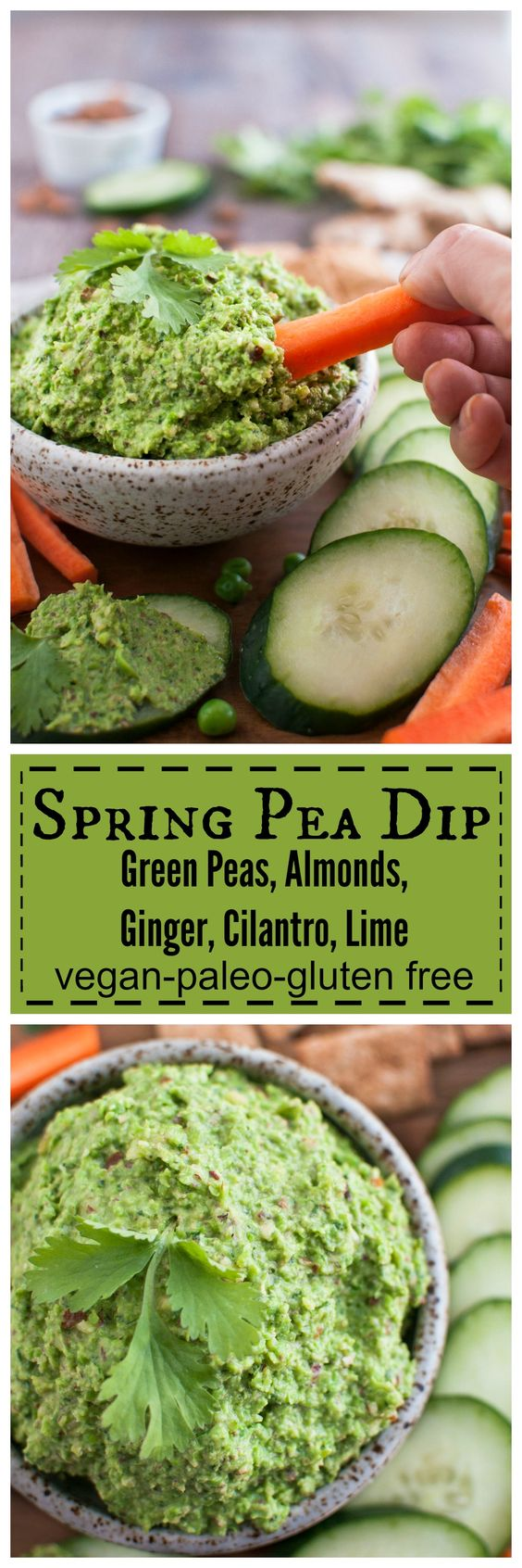 Spring Pea Dip with Amonds, Ginger, Cilantro, and Lime only 5 minutes ...
