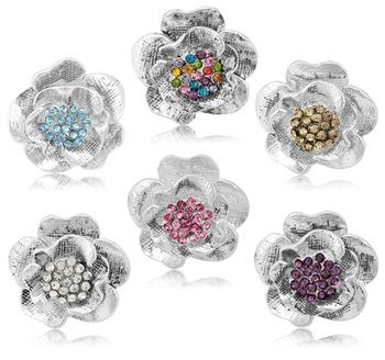 $4.99 - Crystal Cluster Flower Adjustable Ring in Lead and Nickel Free Alloy- Random Assortment of Colors