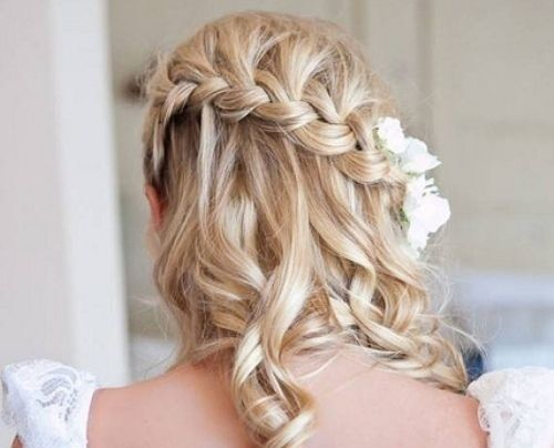 Waterfall braid with curls n a touch of flower! Cuteness!