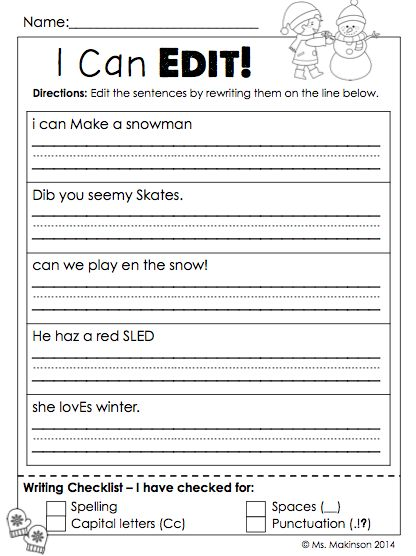 Printables Third Grade Editing Worksheets january printables first grade literacy and math simple i can edit sentences winter themed