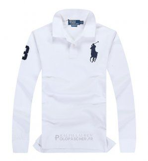 Ralph Lauren Homme Pony Polo Manches Longues Blanc Bleu Acier Polopascher Fr Ralph Lauren Polo Ralph Lauren Polo