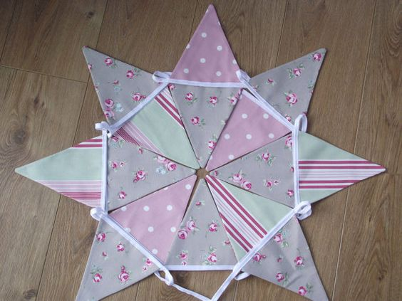 Handmade Fabric Bunting in Taupe Sage and Pink by BreifneCottage