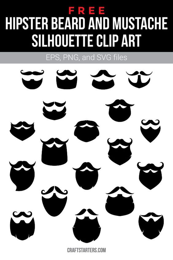 Free Hipster Beard And Mustache Silhouette Clip Art Silhouette Clip Art Beard No Mustache Beard Silhouette