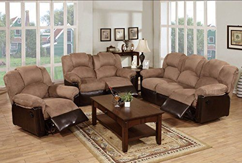 3pc Modern Saddle Plush Microfiber Fabric And Brown Faux Leather Motion Sofa Set With Recliner Living Room Recliner Living Room Sets Living Room Sets Furniture 3 pc living room set