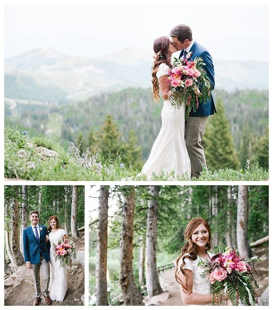 Modest lace wedding dress on real bride Kate | LatterDayBride | Gateway Bridal | Bronwin | Scalloped Lace Wedding Dress | Modest Wedding Dress | Bridals | Formals | First Look | Provo | Utah | Alisha Gregson Photography | Mountain Wedding