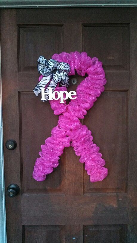 Breast cancer awareness support hope by exquisiteelegance for Craft wreaths for sale