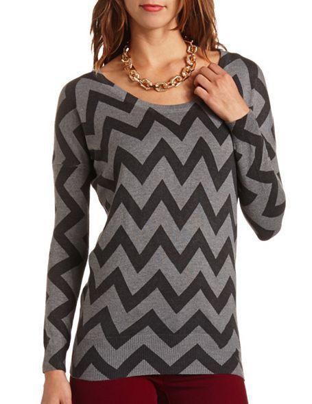Chevron Stripe Dolman Sweater Tunic: Charlotte Russe