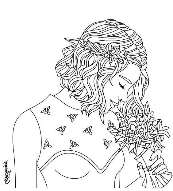 Color Therapy Coloring Pages F5to Girl With Bouquet Coloring Page