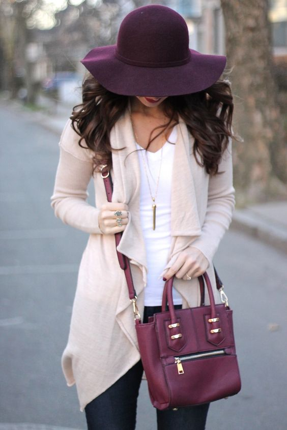 Beautiful colour palette- purple & peach. Open Waterfall Cardigan with Bordeaux Floppy Hat and Bag