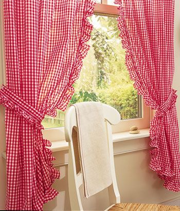Rod Pocket Curtains, Drapes, Gingham Ruffled Curtains - Country ...