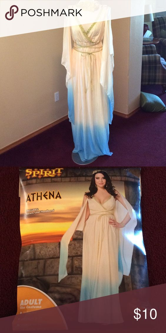 Athena costume Fun gown to were for a toga party, costume, party, or some other event. Gold cord wraps around wait to add that goddess touch. Elegant arm accents. Leaf headband. Spirit Other