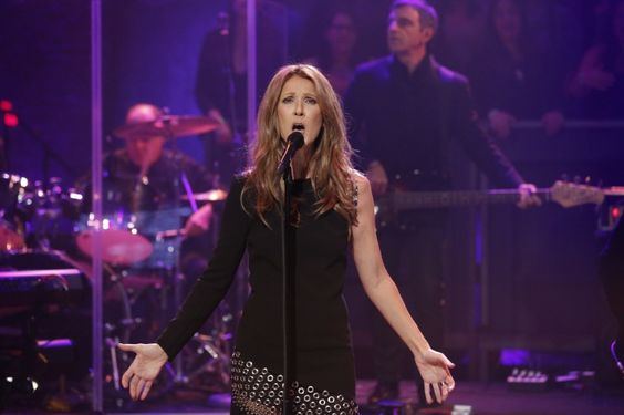 "Liftoff. Celine Dion soars during a performance on ""Late Night With Jimmy Fallon"" on Oct. 28 in New York"