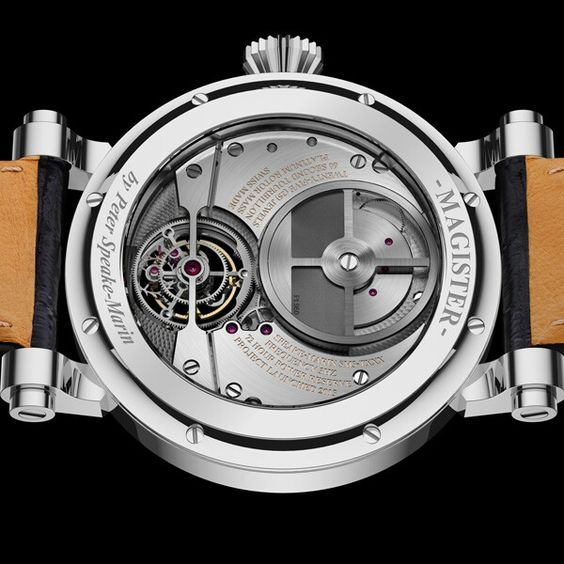 SPEAKE-MARIN Magister Tourbillon icon-brands  Magister Tourbillon features a hand-finished 60-second tourbillon in a white-lacquered dial. The platinum micro-rotor powering the automatic-winding movement can be appreciated through the display back of the grade 5 titanium case.  - See more at: http://watchmobile7.com/articles/speake-marin-magister-tourbillon#sthash.86hyteps.dpuf