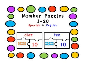Number puzzles in spanish number words puzzles red and blue spanish