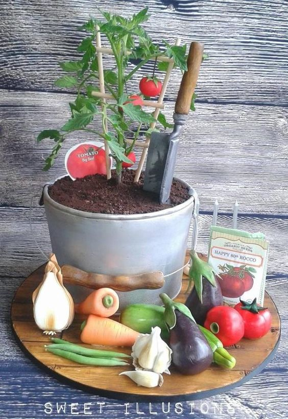 tomato plant and veggie cake  by Sweet Illusions