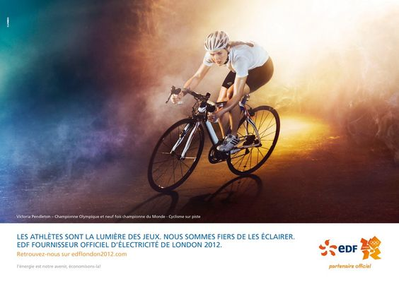 """EDF JO 2012 """"Les athlètes sont la lumière des Jeux. Nous sommes fiers de les éclairer"""""""