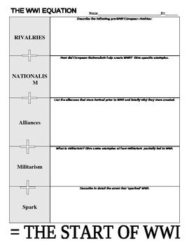 Printables Causes Of World War 1 Worksheet world war and on pinterest 1 causes worksheet