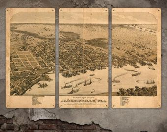 """Old Map of Jacksonville Florida METAL 36x24"""" Triptych FREE SHIPPING"""