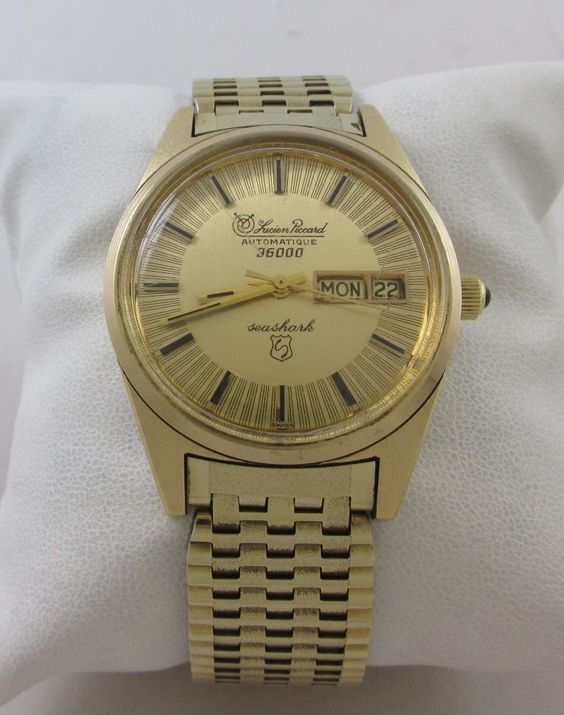 VINTAGE RARE LUCIEN PICCARD AUTOMATIQUE 36000 SEASHARK GOLD FILLED WATCH #LucienPiccard