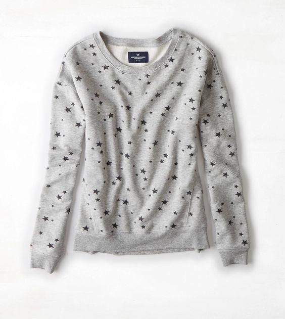 Grey Heather AEO Star Print Crew Sweatshirt