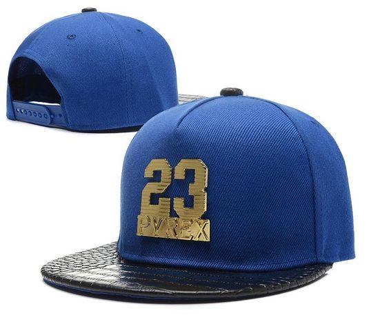 Men's Pyrex Number 23 Gold Metal Logo Faux Croco Leather Print Visor Hip Hop Snapback Hat - Blue / Black